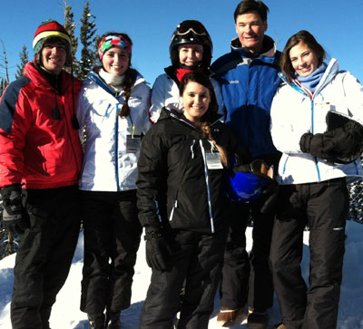 Dr. Mark Anderson and his family skiing